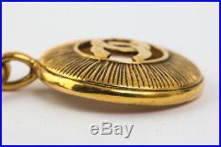 Authentic CHANEL Vintage CC Logos Medallion Gold Chain Pendant Necklace #26171