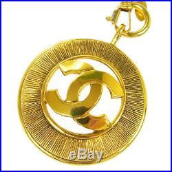 Authentic CHANEL Vintage CC Logos Medallion Gold Chain Pendant Necklace AK16693f