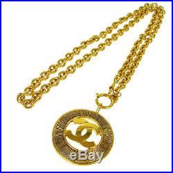Authentic CHANEL Vintage CC Logos Medallion Gold Chain Pendant Necklace NR10560b