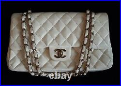 Authentic CHANEL quilted CC double chain shoulder bag White/Gold