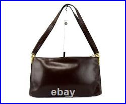 Authentic CHRISTIAN DIOR Brown Leather Hand Bag Shoulder Bag Purse Italy Vintage