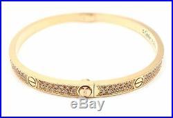 Authentic! Cartier 18k Rose Gold Love Pave Diamond Small Bangle Bracelet Size 16