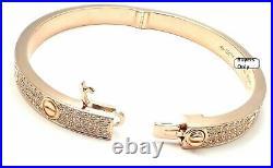 Authentic! Cartier Love 18k Rose Gold Diamond Paved Bangle Bracelet Size 19 Cert