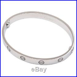 Authentic Cartier Love Bracelet Bangle K18WG Size #17 White Gold Used F/S