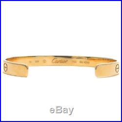 Authentic Cartier Love Bracelet Open Bangle 18K YG Size #16 Yellow Gold Used F/S