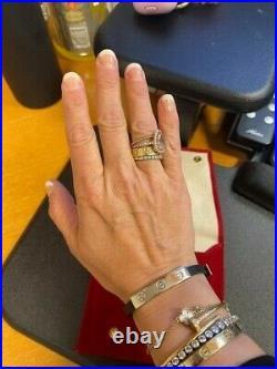 Authentic Cartier Love Leather Bracelet White Gold #751