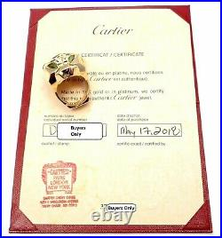 Authentic Cartier Panther Panthere 18k Gold Peridot Onyx Lacquer Large Ring Cert