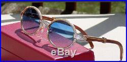 Authentic Cartier Sky Cobalt Rosewood Admiral Buffs Buffalo C Décor Sunglasses