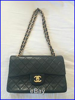 Authentic Chanel 2.55 Classic Double Flap Lambskin Handbag with Gold Hardware