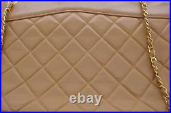 Authentic Chanel Beige Taupe Quilted Lambskin Zipper Large Shopper Tote Bag
