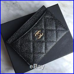 Authentic Chanel Black Caviar Leather Gold CC Logo Credit Card Wallet, With Tag