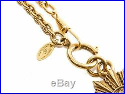 Authentic Chanel CC logos Gold chain necklace