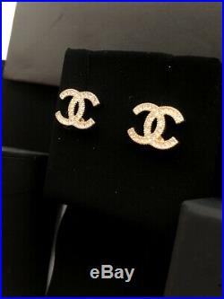 Authentic Chanel Classic CC Logo Crystal Gold Earrings Studs