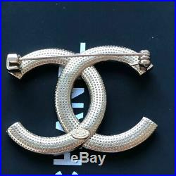 Authentic Chanel Classic Gold Tone Checkered Crystal CC Logo Metal Brooch