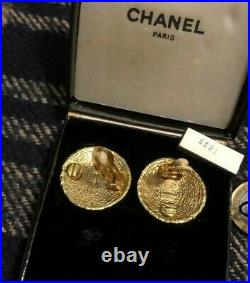 Authentic Chanel Earrings Classic CC Clip On 90s Vintage Gold Plated, Box & Tag