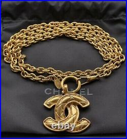 Authentic Chanel Gold Matelasse CC Logo Pendant Chain Necklace From 1980-s