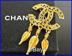 Authentic Chanel Goldtone CC 3 Dangles Jumbo Pin Brooch 95a Made In France +box