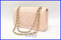 Authentic Chanel Matelasse CC Tweed Canvas Chain Shoulder Bag Pink Gold France