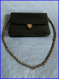 Authentic Chanel Single Flap Gold Chain Black Leather Shoulder Bag Purse Vintage