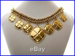 Authentic Chanel vintage Gold-tone Dangling Diamond Choker Necklace