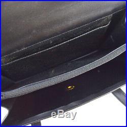Authentic Christian Dior Logo Shoulder Bag Leather Black Gold France 66EW085