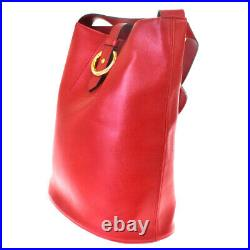 Authentic Christian Dior Logo Shoulder Bag Leather Red Gold Tone France 65AC203