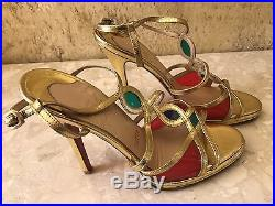 Authentic Christian Louboutin Metallic Gold Strappy Sandal with Jewels Size 38.5