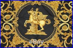 Authentic HERMES 100% Silk Carre Scarf LES TUILERIES Black Gold France