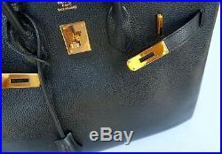 Authentic HERMES Birkin 35 cm Black Vache Liegee Gold Hardware Rare