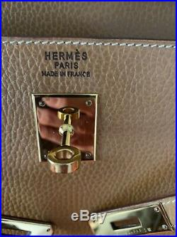 Authentic HERMES Box Kelly 35 cm Natural Box Calf Gold Hardware