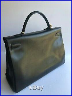 Authentic HERMES Kelly 40 cm Black Noir Box Calf Gold Hardware Vintage