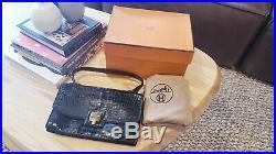 Authentic HERMES PARIS Crocodile vintage leather bag sac evening formal