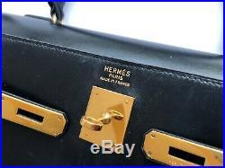 Authentic HERMES Sellier Kelly 35 cm Black Box Calf Gold Hardware Vintage