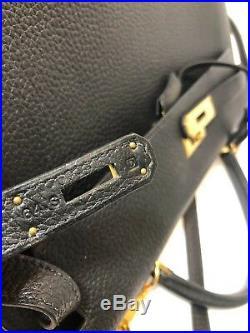 Authentic HERMES Sellier Kelly 35 cm Black Fjord Gold Hardware Rare