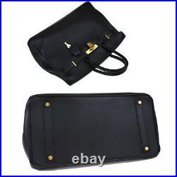 Authentic Hermes Birkin 35 Hand Bag Gulliver Leather Black Gold A 188la908