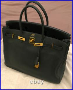Authentic Hermes Birkin 40 in Vert Fonce Togo Leather
