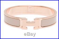 Authentic Hermes Clic Clac H Bracelet Rose Gold Beige PM size 15.7 cm Small-Med