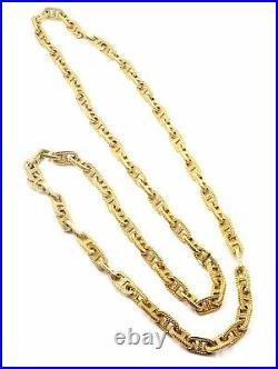 Authentic Hermes George L'Enfant Chain d'Ancre 18k Yellow Gold 33 Long Necklace