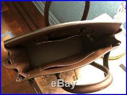 Authentic Hermes Haut A Courroies Hac Birkin 28 CM Bag Ebene Brown Gold