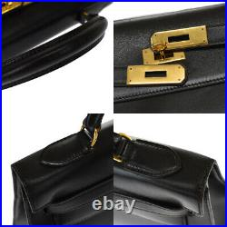 Authentic Hermes Kelly 32 Hand Bag Box Calf Leather Black Gold R France 868e003