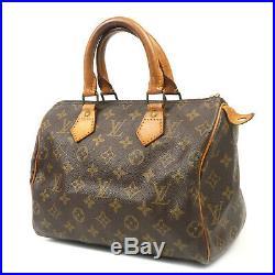 Authentic LOUIS VUITTON Monogram Speedy 25 Hand Bag Boston Bag M41528 Used F/S