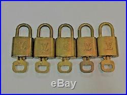 Authentic LOUIS VUITTON Vintage Bag Charm Padlock 5 Piece Set Gold Used
