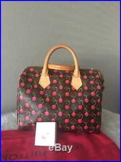 Authentic Louis Vuitton Cherry Cerise Speedy 25 By Takashi Murakami BAG RARE