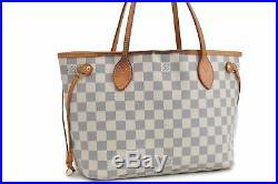 Authentic Louis Vuitton Damier Azur Neverfull PM Tote Bag N51110 LV 75593