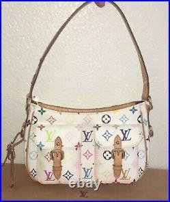Authentic Louis Vuitton Lodge PM White Multicolor Monogram Shoulder Bag Purse