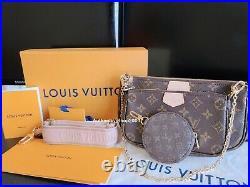 Authentic Louis Vuitton M44840 Multi Pochette Accessories handbags Purse Pink