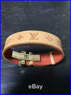 Authentic Louis Vuitton Monogram Leather Bangle Bracelet Brown/Gold Flower Used