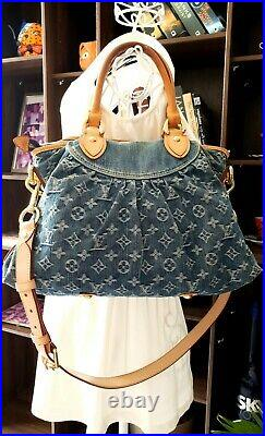 Authentic Louis Vuitton Neo Cabby MM Monogram Embroidery Blue Denim Two Way Bag