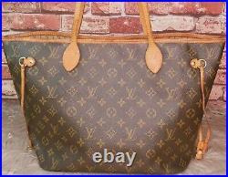 Authentic Louis Vuitton Neverfull MM Monogram Canvas Tote Bag