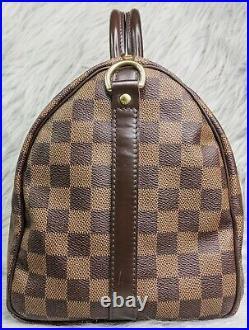 Authentic Louis Vuitton Speedy Bandouliere 30 Damier Ebene Canvas Two Way Bag